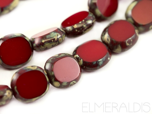 10mm Candy Beads oval Red Opaque Picasso rot Glasperlen 4x