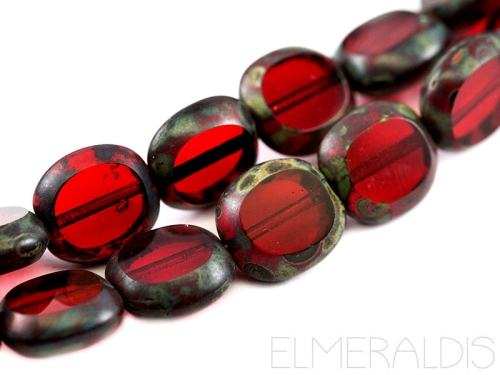 10mm Candy Beads Siam Ruby Red Mix Picasso rot Glasperlen 4x
