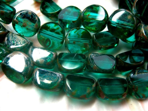 12mm Carved Round Emerald Picasso Glasperlen 2x