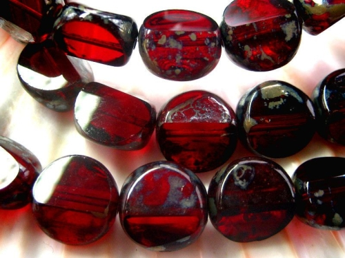 12mm Carved Round Garnet Picasso Glasperlen 2x