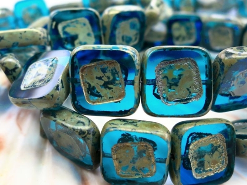 Square Beads Capri blue Picasso Glasperlen 2x