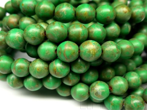 8mm Glasperlen Green Picasso Matte 5x