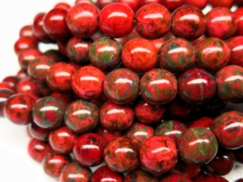 8mm Glasperlen Red Green Picasso Luster 5x
