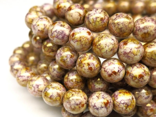 8mm Glasperlen White Purple Gold Luster 5x